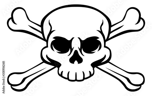 A skull and crossbones or cross bones jolly roger pirate or poison warning sign Canvas Print