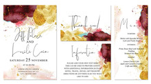Burgundy, Pink And Gold Wedding Set With Watercolor Background