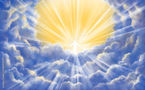 Fotografie, Tablou Jesus Christ Son of God in glory in heaven, meeting God, Paradise, Second coming