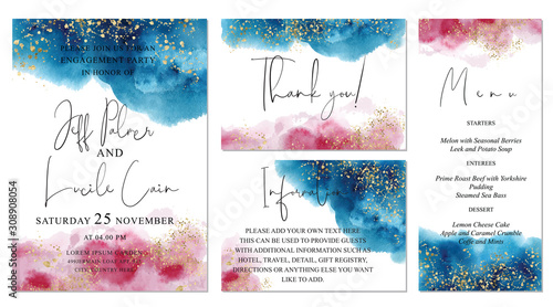 Photo Watercolor abstract aquamarine wedding set with  hand drawn blue and pink background