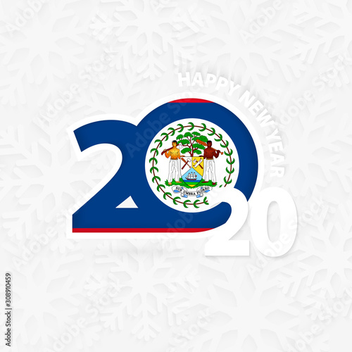 Photo Happy New Year 2020 for Belize on snowflake background.