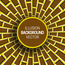 Round Frame On Yellow Brown Optical Illusion Hypnotic Background Of Rotating Bricks.