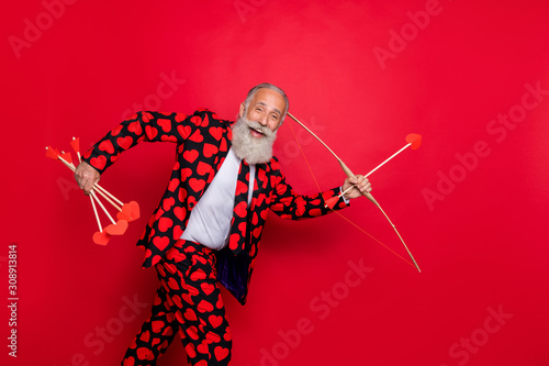 Carta da parati Profile photo of excited funky aged man guy cupid see nice couple going to shoot