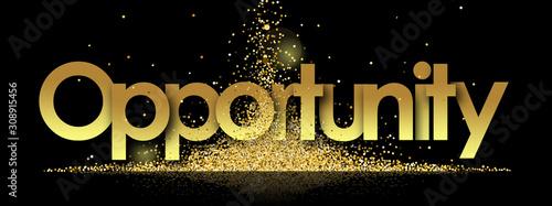 Fototapeta opportunity in golden stars and black background obraz