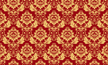 Wallpaper In The Style Of Baroque. Seamless Vector Background. Red And Gold Floral Ornament. Graphic Pattern For Fabric, Wallpaper, Packaging. Ornate Damask Flower Ornament