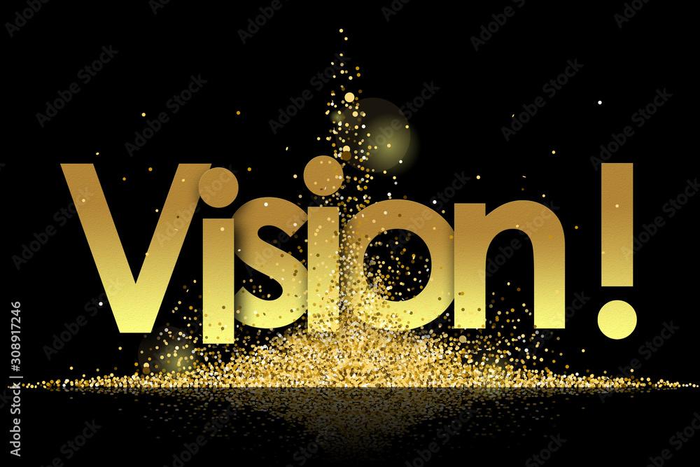 Fototapeta vision in golden stars and black background