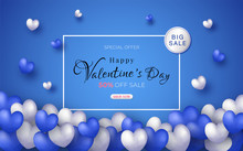 Valentine's Day Sale Promotion Website Design. And The Background With Blue And White Hearts Represents Love.and With Seasonal Deals.and Modern Colors.and Can Be Used As Illustration Or Backdrop.