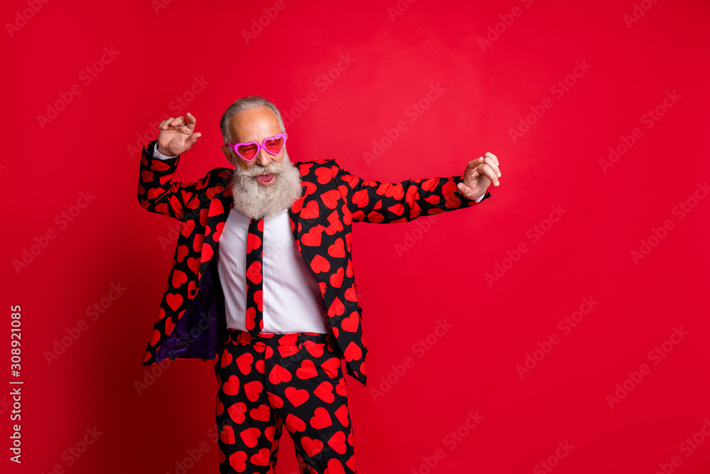 Fototapeta Portrait of his he nice attractive funky cool modern trendy gray-haired guy hipster MC dancing having fun isolated on bright vivid shine vibrant red color background