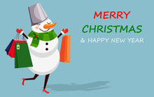 Snowman With Shopping Bags On Blue Background. Christmas Background In Flat Design Vector Illustration.
