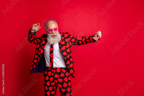 Fotografia Portrait of his he nice attractive funky cool modern trendy gray-haired guy hips