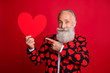 canvas print picture - Photo of funky mature man cupid amour hold big paper heart shape indicating finger creative postcard wear stylish hearts pattern suit blazer shirt tie isolated red color background