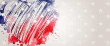 Banner With USA Flag In Grunge...