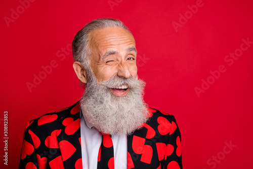 Close-up portrait of his he nice attractive funky cheerful cheery glad gray-hair Wallpaper Mural