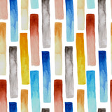 Seamless watercolor pattern, red, blue, gray, yellow vertical stripes. May use for wrapping paper, textile print, wallpaper
