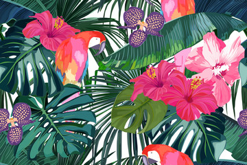Panel Szklany Do kuchni Tropical seamless pattern. Palm tree leaves, flower hibiscus and parrot. Vector illustration. Summer background