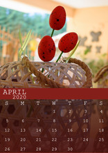 April 2020 Calendar With Two Easter Poppy-shaped Eggs. In Size A3