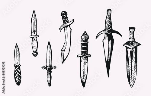 Fotomural Daggers hand drawn clipart isolated vector vintage illustrations for graphic des