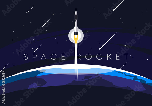 Fotografie, Tablou Vector illustration of a planet in the foreground against the background of spac