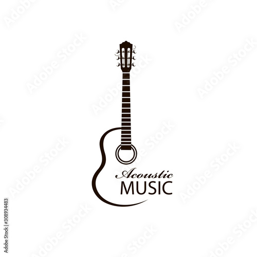 Photo icon of classical acoustic guitar isolated on white background
