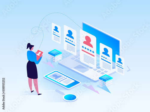 Fotomural Isometric Recruiting concept Business HR agency