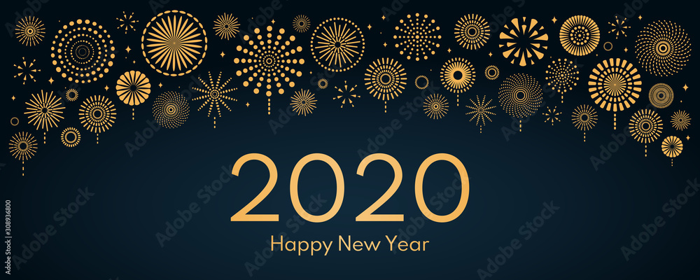 Fotografie, Obraz Vector illustration with bright golden fireworks on a dark blue background, text 2020 Happy New Year
