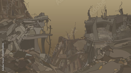 Fotografía  cartoon ruins of crooked ruined houses in dusty fog