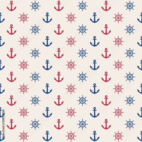 Платно anchor and rudder seamless pattern, marine vector background
