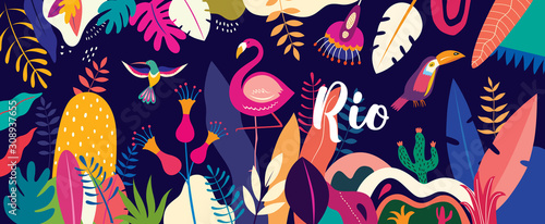 Obraz Vector colorful illustration with tropical flowers, leaves, flamingo and birds. Brazil tropical pattern. - fototapety do salonu