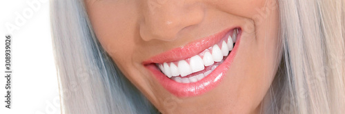 closeup of smile with white healthy teeth #308939026