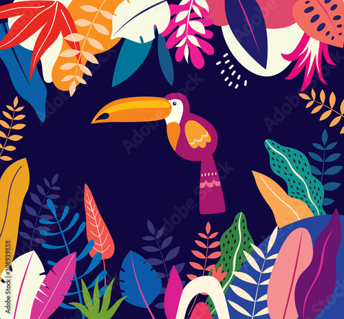 Vector colorful illustration with tropical flowers, leaves and toucan Wall mural