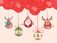 Christmas Ball Hanging On Red Sky Winter Season Background For Merry Christmas And Happy New Year. Watercolor Christmas Card For Invitations, Greetings. Santa Claus And Cute Reindeer.