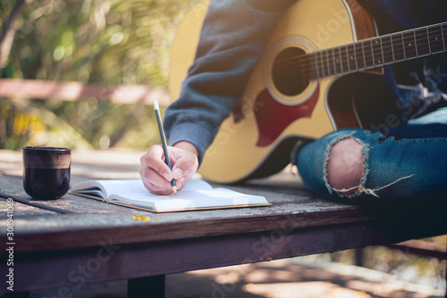 Music creator, Music composer's work area in nature, Close-up - 308941069