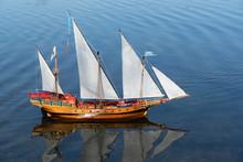 Wooden Toy Galleon Ship Sailin...