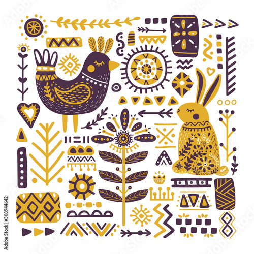 Foto Folk art animals flat vector illustration
