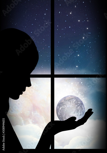 Protecting our planet silhouette art photo manipulation Canvas Print