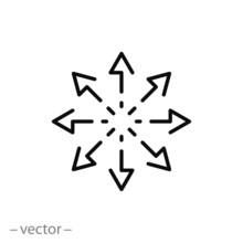 Versatile Icon, Multipurpose Capability, Function Cross, Tilt Skill, Thin Line Web Symbol On White Background - Editable Stroke Vector Illustration Eps10