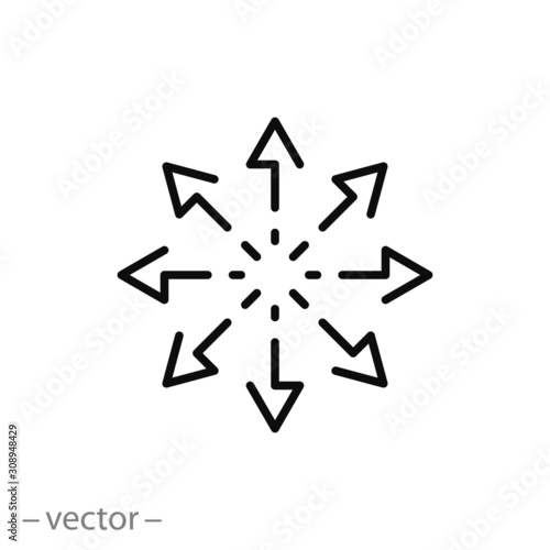 Fototapeta versatile icon, multipurpose capability, function cross, tilt skill, thin line w