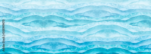 Fototapety, obrazy: Watercolor line of blue paint, splash, smear, blot, abstraction. Used for a variety of design and decoration. Strokes of paint, lines, splash. Horizontal line,background. Blue sea, Hill, fog mountain