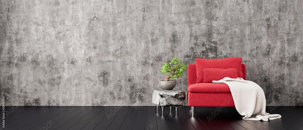 Fototapeta gray concrete wall with red modern furniture, minimal interior design, 3d render, 3d illustration