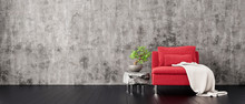 Gray Concrete Wall With Red Mo...
