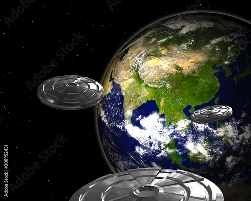 фотография Alien invasion from space - 3D rendering