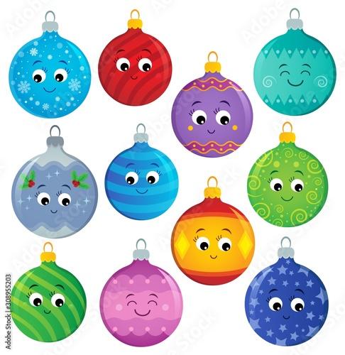 Foto op Aluminium Voor kinderen Stylized Christmas ornaments theme set 2