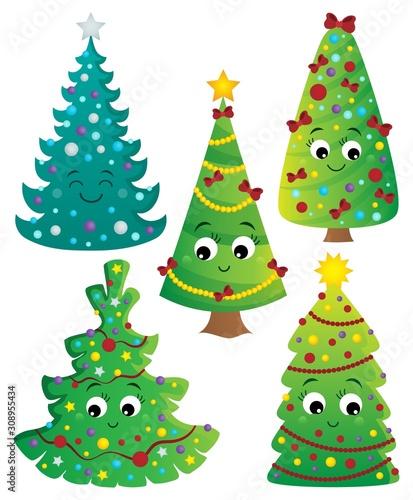 Foto op Aluminium Voor kinderen Stylized Christmas trees collection 2