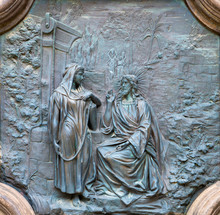 ACIREALE, ITALY - APRIL 11, 2018: The Bronze Relief Of Jesus With The Samaritan Woman At The Well From The Gate Of Basilica Collegiata Di San Sebastiano Probably From 19. Cent.