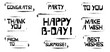 Set of Birthday celebration stencil lettering in frames. Congrats, Party, To You, Thank You, Make a Wish From To, Surprise, Best Wishes, Happy Birthday graffiti on white background.