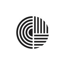 Letter Cd Stripes Geometric Circle Linear Logo Vector