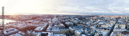 Obraz na plátně Beautiful winter panorama of the Old Town in Helsinki