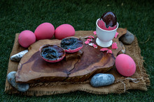 Pink Century Eggs (Pidan Eggs) Also Known As Preserved Egg, Hundred-year Egg, Thousand-year Egg Are A Chinese Preserved Food Product And Delicacy Made By Preserving Duck, Chicken.