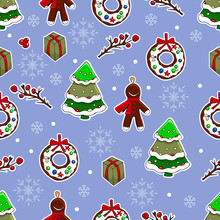 Cute Christmas And New Year Hand Drawn Background. Vector Seamless Pattern For Wrapping, Wallpaper, Scrabooking. Holly, Christmas Tree, Gingerbread Man, Santa, Candies, Lollipops, Wreaths.
