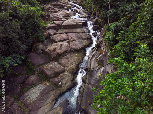 Aerial Photo of waterfall in El Yunque rainforest in tropical Puerto Rico.